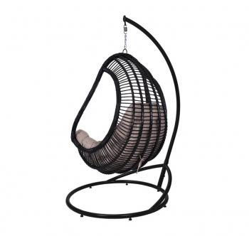 Кресло подвесное Украинские Конструкции Комфорт со стойкой Черный (Черный Бежевая) фото-3