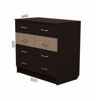 Комод NIKA Мебель К-9 80x44x80 Черный (Дуб Венге) фото-2