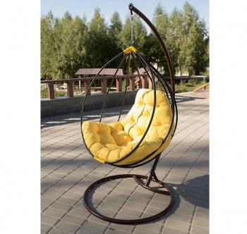 Кресло подвесное Украинские Конструкции Адель со стойкой Черный (Черный Зеленая трава) фото-2