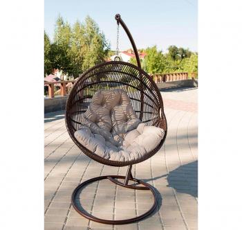 Кресло подвесное Украинские Конструкции Ариэль со стойкой Коричневый (Шоколад Салатовая) фото-2