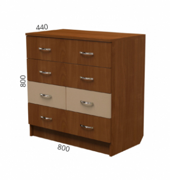 Комод NIKA Мебель К-12 80x44x80 Коричневый (Орех Лесной) фото-2