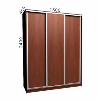 Шкаф купе NIKA Мебель Ника 4/4 180x45x240 Коричневый (Яблоня Локарно темная Яблоня Локарно темная Алюминий) фото-1