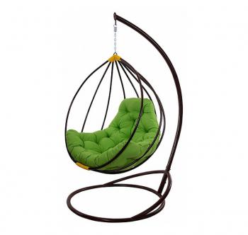 Кресло подвесное Украинские Конструкции Адель со стойкой Черный (Черный Зеленая трава) фото-1