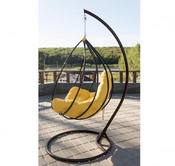 Кресло подвесное Украинские Конструкции Адель со стойкой Черный (Черный Зеленая трава) фото-4