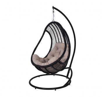 Кресло подвесное Украинские Конструкции Комфорт со стойкой Черный (Черный Бежевая) фото-1