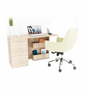 Стол компьютерный Comfy-Home Caliban 62(110)x50 Белый (Белый) фото-3