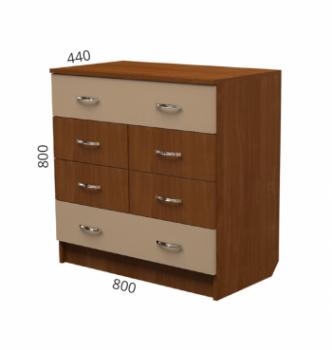 Комод NIKA Мебель К-15 80x44x80 Коричневый (Орех Лесной) фото-2