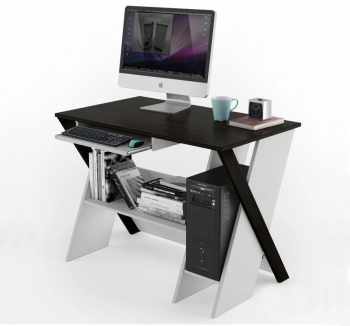 Стол компьютерный Comfy-Home Zhuk 100x59 Коричневый (Венге магия Белый) фото-1