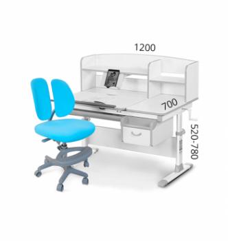 Комплект Evo-kids Evo-50 New (парта+кресло Mio-2) Серый (Серый KBL - Голубой) фото-1