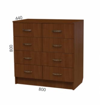 Комод NIKA Мебель К-4 80x44x80 Коричневый (Орех Экко) фото-2