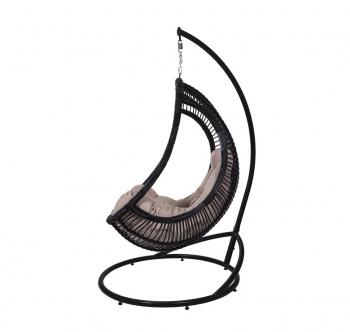 Кресло подвесное Украинские Конструкции Комфорт со стойкой Черный (Черный Бежевая) фото-4