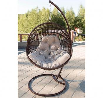 Кресло подвесное Украинские Конструкции Ариэль со стойкой Коричневый (Шоколад Салатовая) фото-7