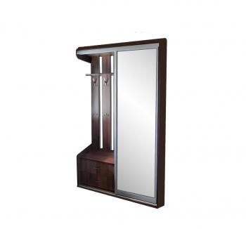 Прихожая NIKA Мебель н/с 120x45x220 Коричневый (Дуб Шамони темный Зеркало) фото-1