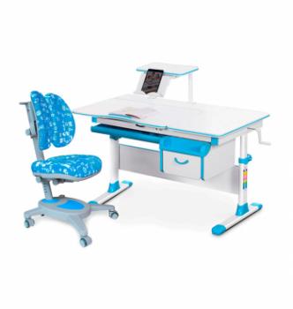 Комплект Evo-kids Evo-40 New (парта+кресло Onyx Duo) Синий (Голубой ABK - Голубой с буквами) фото-1