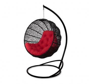 Кресло подвесное Украинские Конструкции Фиеста со стойкой Черный (Черный Красная) фото-1